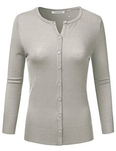 JJ Perfection Women's Solid 3/4 Sleeve Crew Neck Basic Button Down Cardigan GRAY XL  Special Offer: $21.99  355 Reviews Crafted from soft, stretchy acrylic blend, this JJ Perfection women's 3/4 sleeve crewneck button down knit cardigan sweater is extremely comfortable yet...