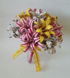 Paper Flower Origami Wedding Bouquet Lemon Yellow Ice Pink White Gold Themed £70.00 www.lilybellekeepsakes.com