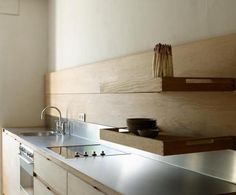 plywood kitchen, steel bench top