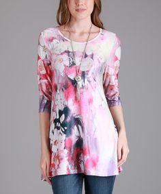 Pink & Cream Floral Scoop Neck Tunic - Plus Too #zulily #zulilyfinds