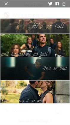 Oh my gosh this song reminds me of Divergent so much and I feel like the chorus is kinda like when she leaves to go to Erudite in Insurgent Divergent Memes, Divergent Four, Divergent Hunger Games, Tris And Four, Divergent Fandom, Insurgent Quotes, Divergent Trilogy, Divergent Insurgent Allegiant, Divergent Characters