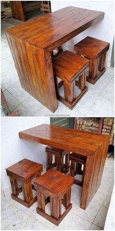 Pallet Desk Table and Stools Pallet Furniture Designs, Wooden Pallet Projects, Wood Pallet Furniture, Pallet Designs, Home Decor Furniture, Furniture Projects, Wood Pallets, Diy Home Decor, Pallet Desk