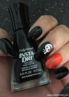 Evil Pumpkin Halloween Black and Orange Nails via Evil Pumpkin, Dry Nails Fast, Black Nail Polish, Happy Nails, Orange Nails, Cool Nail Designs, Halloween Pumpkins, Nail Colors, Holiday Ideas