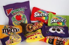 Snack Bag Soft Sculptures By Holly Levell   http://www.hollylevell.com/