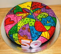 Romero Britto themed cake