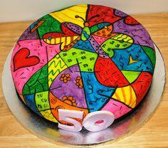 Romero Britto themed cake
