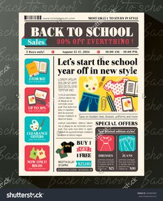 Back To School Sales Promotional Design Template In Newspaper Journal Style…