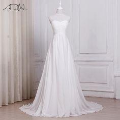 ADLN In Stock White / Ivory Chiffon Beach Wedding Dresses Vestido De Noiva Sweetheart A-line Bridal Gowns with Zipper Back #beachweddingdresses #vintageweddingdresses #weddingdresses #bridalgowns