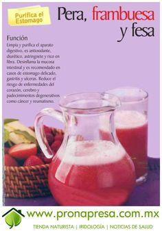Jugo Natural de Pera, Frambuesa y Fresa: Purifica el estómago