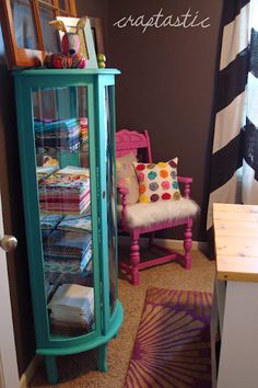 Curio cabinet makeover...love the rounded corners