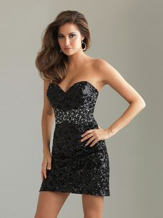 Black Sequined A-Line Strapless Sweetheart Neckline Sleeveless Short Cocktail Dress