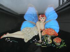 Vintage large Butterfly wing old art deco fairy picture | eBay, starting at £74.99 / approx 29 and a half cms by 20 and a half cms