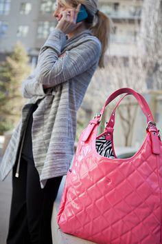 JP Lizzy Quilted Satchel Diaper Bag - Watermelon Pink with Zebra Lining | Designer Diaper Bags available at Due Maternity And Baby www.duematernityandbaby.com