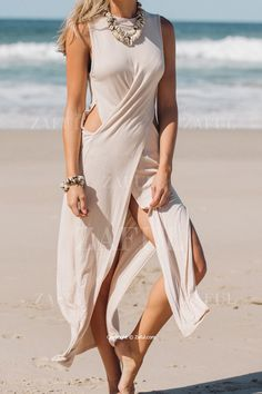 Apricot Sleeveless Cut Out Maxi Dress