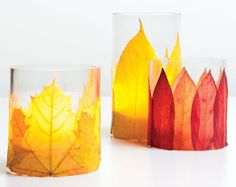 DIY with Candle Impressions flameless tea lights, fall leaves (real or synthetic) and papier mache paste