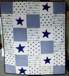 Baby boy blanket, baby boy patchwork quilt, blue gingham navy felt stars with buses trucks cars, cot bedding,