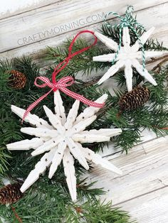 Crafty Morning - Kids Crafts, Recipes, and DIY Projects 8084 Christmas Crafts For Kids To Make, Christmas Ornament Crafts, Snowflake Ornaments, How To Make Ornaments, Christmas Projects, Handmade Christmas, Holiday Crafts, Christmas Diy, Christmas Decorations