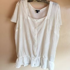 Sheer cream blouse Great shear cream color top. Elastic at the waist. Square neckline. In great condition. East 5th Tops Blouses
