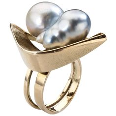 Margaret De Patta Pearl Gold Cluster Ring | See more rare vintage Cluster Rings at http://www.1stdibs.com/jewelry/rings/cluster-rings