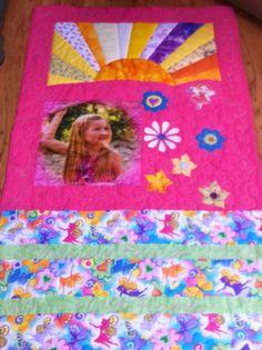 """Quilt Schulanfang, Kinderquilt,  """"Meine Welt in Pink""""  2015 eigener Entwurf Paperpiecing  Sonne, Stoffdruck, Applikationen"""