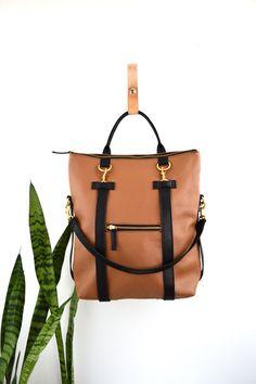 3-en-1 cuero mochila Laptop Convertible mochila minimalista