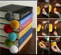 pom-pom Bookmarks made with yarn