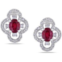 Miadora 10k White Gold Ruby and 1/4ct TDW Diamond Earrings ($425) ❤ liked on Polyvore featuring jewelry, earrings, red, round diamond earrings, diamond butterfly earrings, long earrings, ruby diamond earrings and butterfly stud earrings