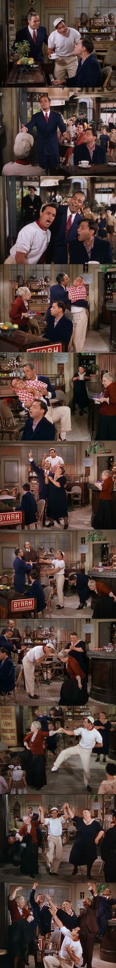An American in Paris 1951 Gene Kelly as Jerry Mulligan, Oscar Levant as Adam Cook (playing the piano), and Georges Guetary as Henri Baurel in the first long musical-dance sequence at the cafe filled with goofiness, something that was totally different in a musical just then.
