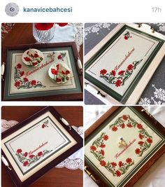 Cross Stitch Borders, Cross Stitch Flowers, Cross Stitch Patterns, Decorative Boxes, Tray, Embroidery, Flower Decoration, Cross Stitch, Punto De Cruz