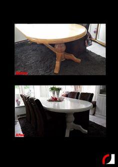 Een gehele woonkamer in een nieuw jasje gestoken! Eiken meubels wit gespoten: Eettafel, dressoir, kast en tv-meubel. Foto's van voorgaande projecten:https://www.facebook.com/RolfJurgen/photos_stream?tab=photos_albums #Spuiterij #Meubelspuiterij #interieurspuiterij #Kerkrade #Limburg #Parkstad #Heuvelland #Renoveren #kasten #meubels #restylen #modern #brocante #eiken #tvmeubel #dressoir #kast #woonkamer