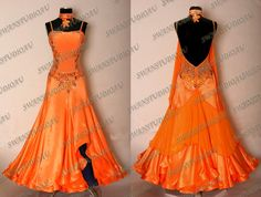 NEW ORANGE SATIN BALLROOM DANCE COMPETITION DRESS WB1698