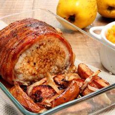Roti de porc aux coings, purée de butternut