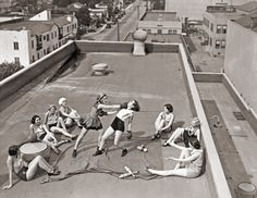 Women boxing on a roof, circa 1930s