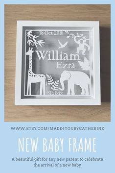 This shadow box frame can be gifted to celebrate the arrival of any new baby. Variety of colours. Craft Frames, Frame Crafts, Shadow Box Art, Shadow Box Frames, Baby Theme, Jungle Theme, Baby Box Frame Ideas, Baby Picture Frames, Baby Gifts To Make