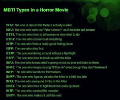 MBTI Types in a Horror Movie - Pretty funny.