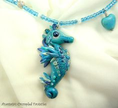 Blue white polymer clay seahorse necklace, Underwater creature pendant, Sea horse mermaid, glass faceted beads jewelry, howlite heart