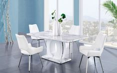 Global Furniture USA Dining Room Set with Dining Table and 4 Swivel Dining Chairs in White