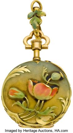 Henry Capt Miniature Art Nouveau Enamel, circa 1910 Case: 18k gold, gold cuvette, raised gold leaves on the bezel and edge, back with raised enameled exotic flowers, gold swivel with an enameled leaf