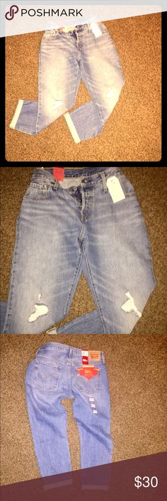 """Monica's high waisted jeans. NWT Levi 501 button Monica from Friends called and she wants these pants back. 😜 NWT I have one size 29 waist  and one size 30 waist. Levi 501 button fly. They are factory rolled for style but are hemmed and tapered leg (but you should rock them rolled for sure) the tag says inseam is 32"""" these have a very comfortable fit for high waisted. Levi's Jeans Ankle & Cropped"""
