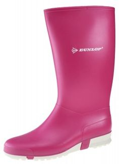 Dunlop Sport Pink/White Wellington Pink Slip On Wellington Boots Ladies Girls -  £12.99