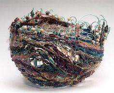 Jean Ann Fausser 3d weave textile art sculpture fabric bowl