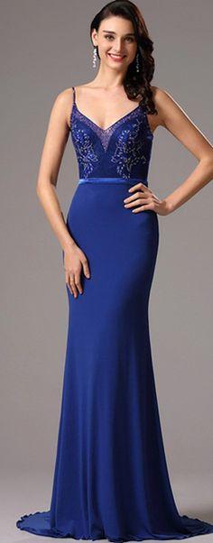 [USD 199.99] Blue Floral Bodice V neck Prom Evening Dress (02161605)