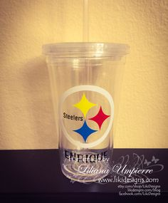 BPA free 16 oz double wall personalized football Steelers NFL inspired acrylic clear tumbler by LikiDesigns on Etsy