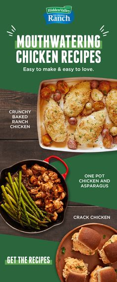 Get easy to make (and easy to love!) Chicken Recipes made with Hidden Valley Ranch. Tap the Pin to get the recipe. Easy Chicken Recipes, Meat Recipes, Cooker Recipes, Crockpot Recipes, Dinner Recipes, Paleo Meals, Healthy Chicken, Easy Meals, Healthy Recipes