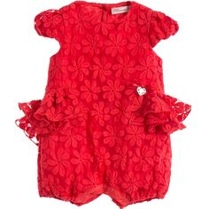 Miss Blumarine Baby Girls Red Floral Embroidered Shortie at Childrensalon.com