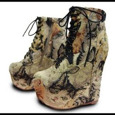 Jeffrey Campbell Shoes - Jeffrey Campbell damsel cat tapestry boots