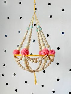 Wooden beads and pompons crown chandelier hanging decor