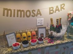 Mimosa bar, pop the bubbly she's getting a hubby. - Mimosa bar, pop the bubbly she's getting a hubby. Mimosa b - Bridal Shower Planning, Bridal Shower Party, Bridal Shower Decorations, Brunch Party Decorations, Bachelorette Party Decorations, Themed Bridal Showers, Bridal Shower Gifts For Bride, 21st Birthday Decorations, Wedding Planning