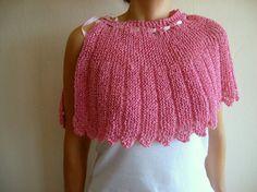 Knit Pink Capelet Wedding Shawl Bridal Shrug by bysweetmom on Etsy, $65.00