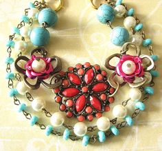 Flower Necklace Bib Necklace Turquoise Jewelry Coral Necklace Statement Jewelry Multi Strand Beadwork